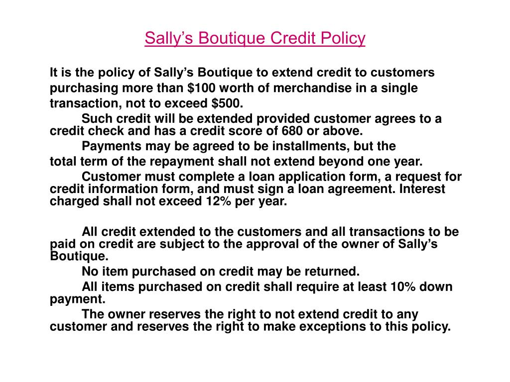 Sally's Boutique Credit Policy