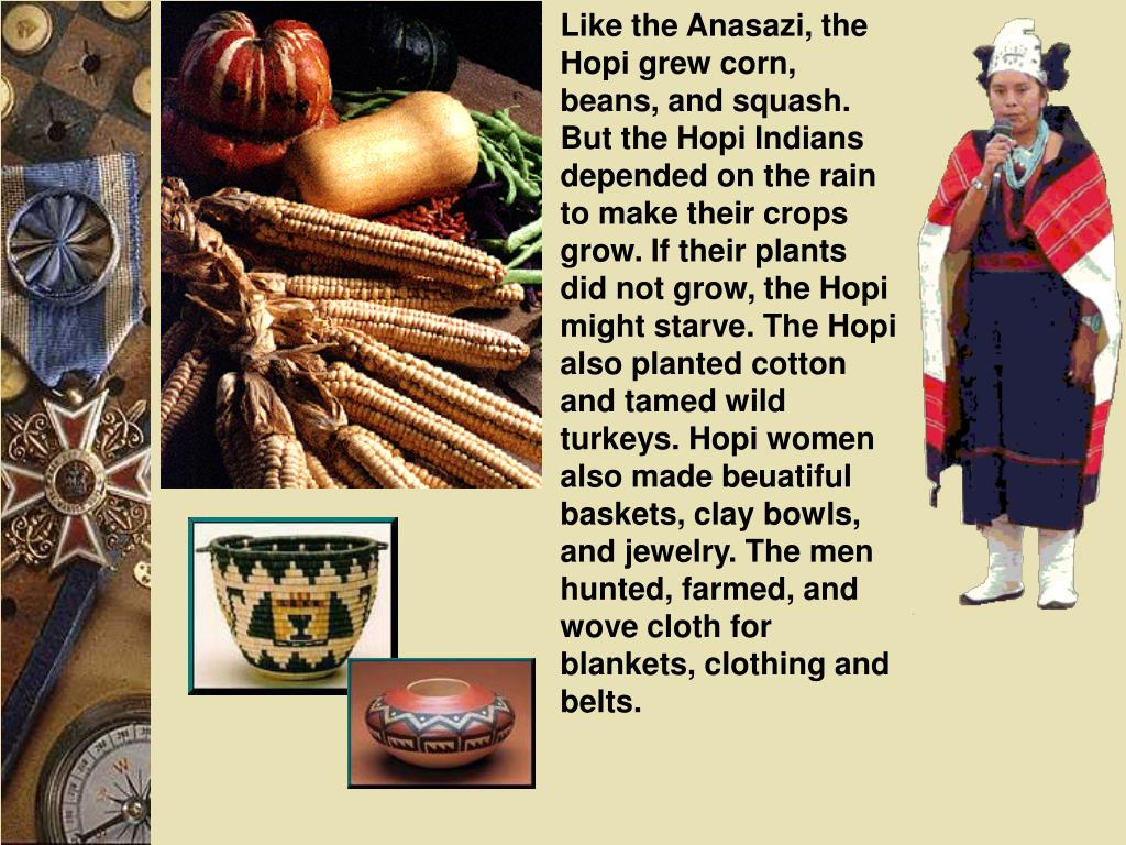 Like the Anasazi, the Hopi grew corn, beans, and squash. But the Hopi Indians depended on the rain to make their crops grow. If their plants did not grow, the Hopi might starve. The Hopi also planted cotton and tamed wild turkeys. Hopi women also made beuatiful baskets, clay bowls, and jewelry. The men hunted, farmed, and wove cloth for blankets, clothing and belts.