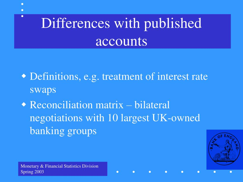 Differences with published accounts