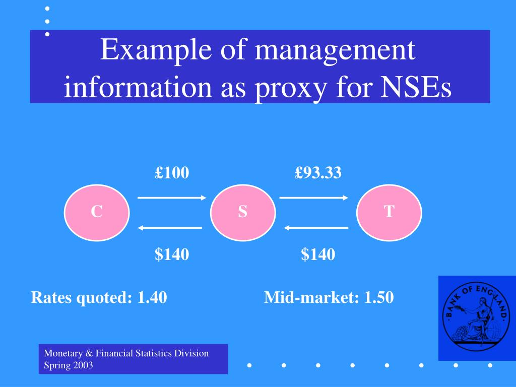 Example of management information as proxy for NSEs