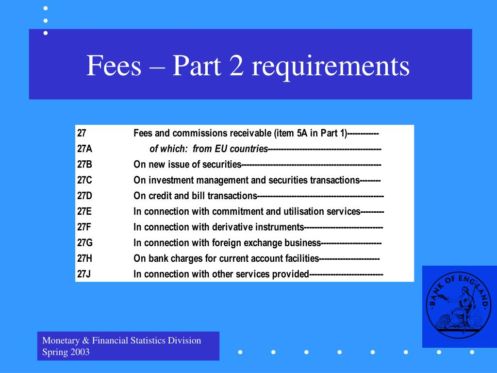 Fees – Part 2 requirements