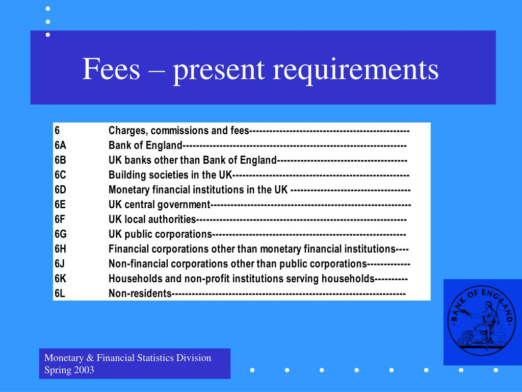 Fees – present requirements