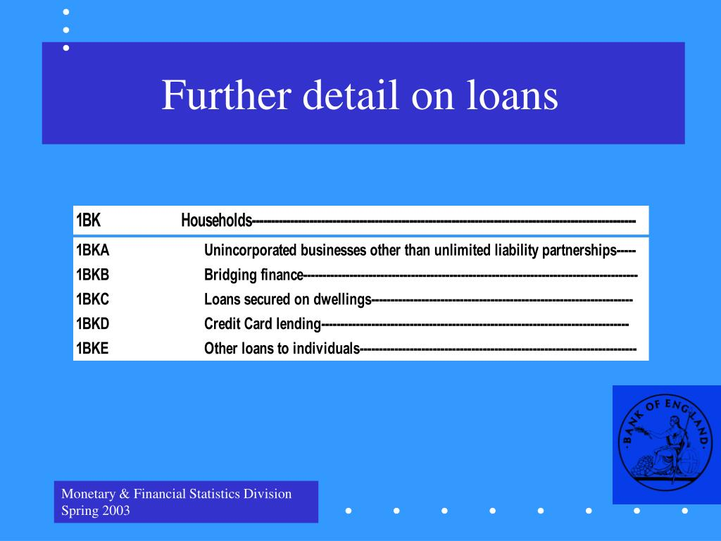Further detail on loans