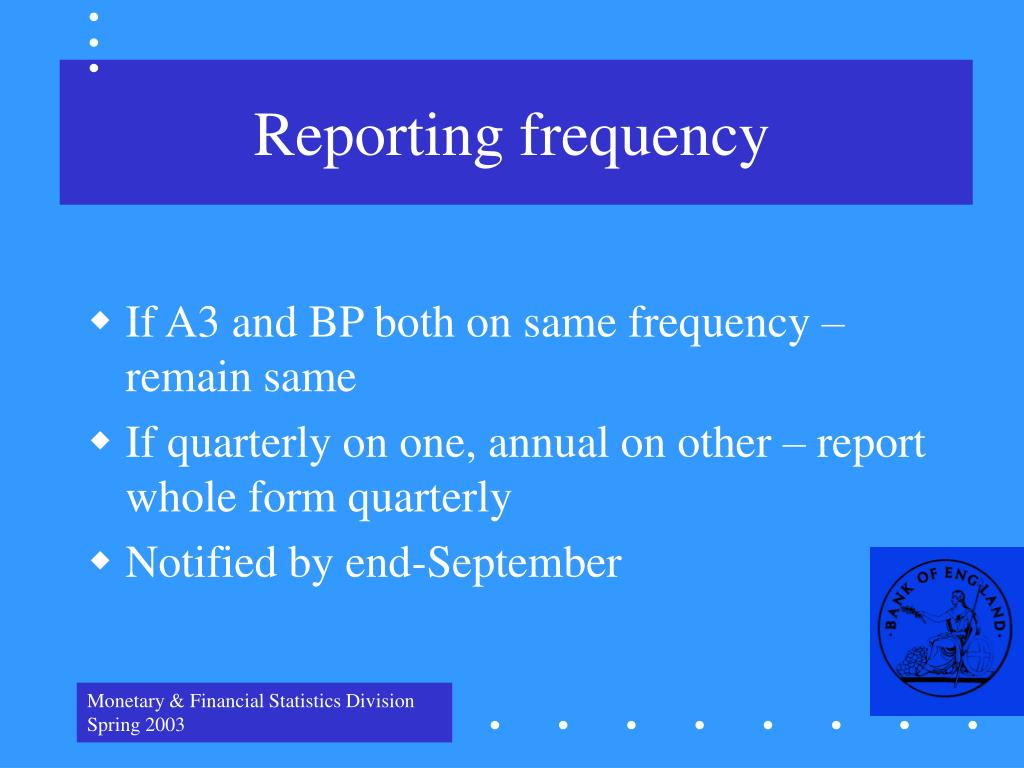 Reporting frequency