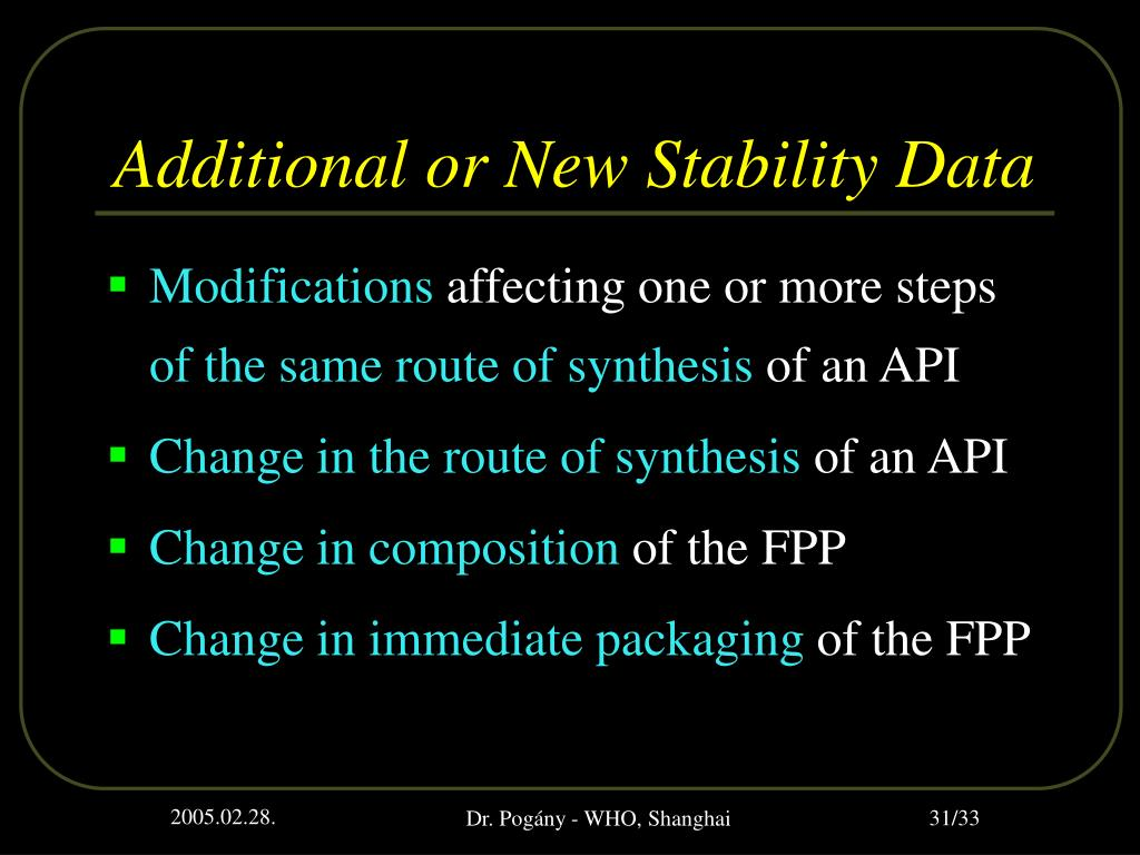 Additional or New Stability Data