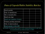 data of capsule tablet stability batches