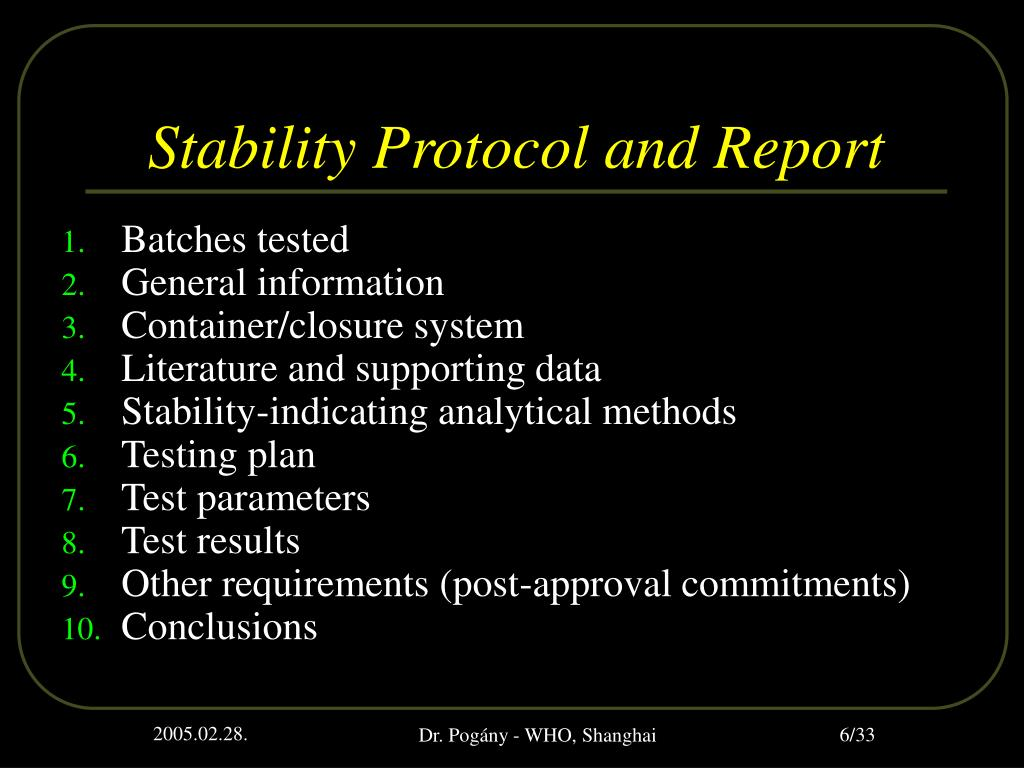 Stability Protocol and Report