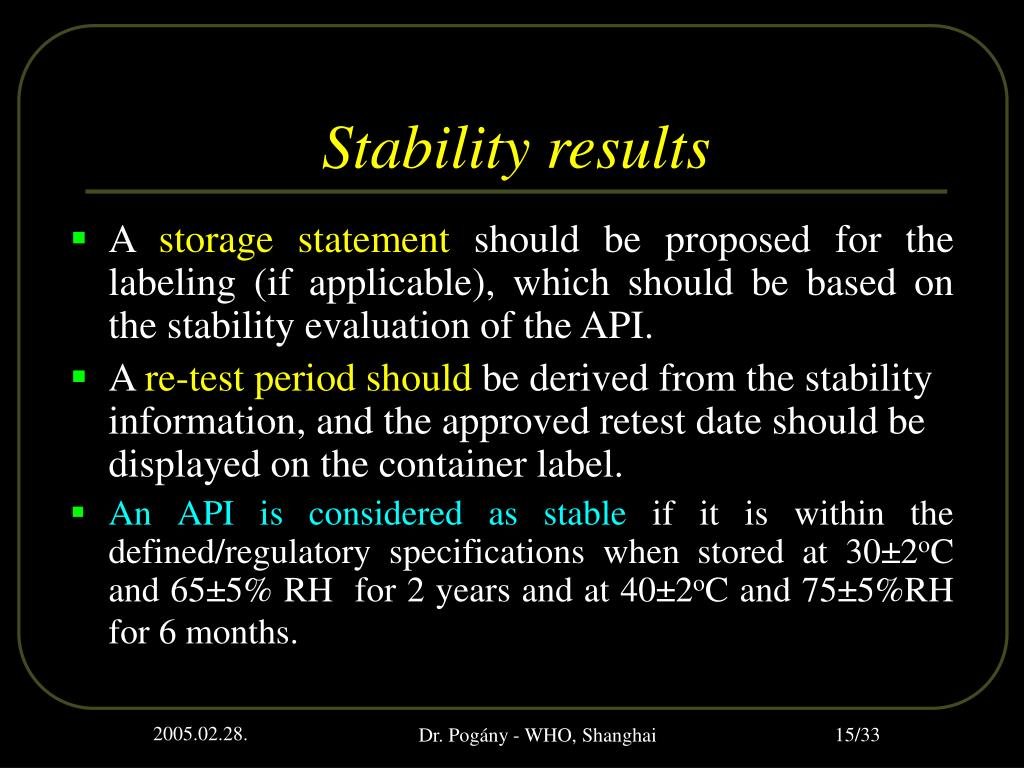 Stability results