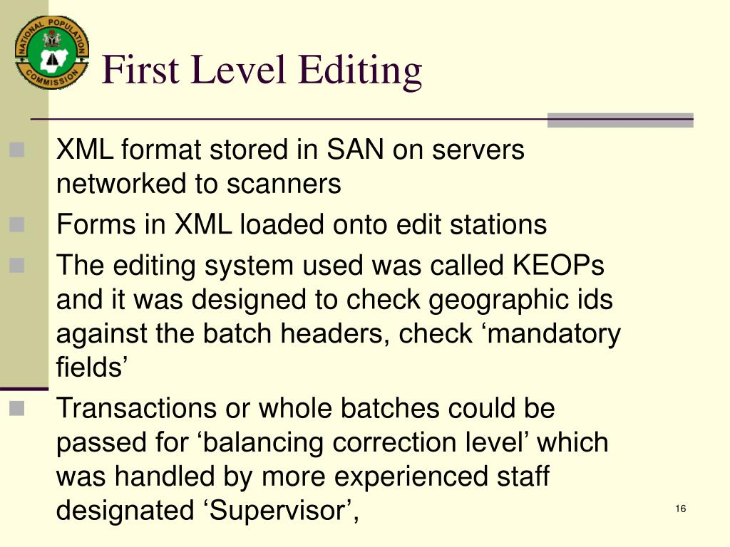 XML format stored in SAN on servers networked to scanners
