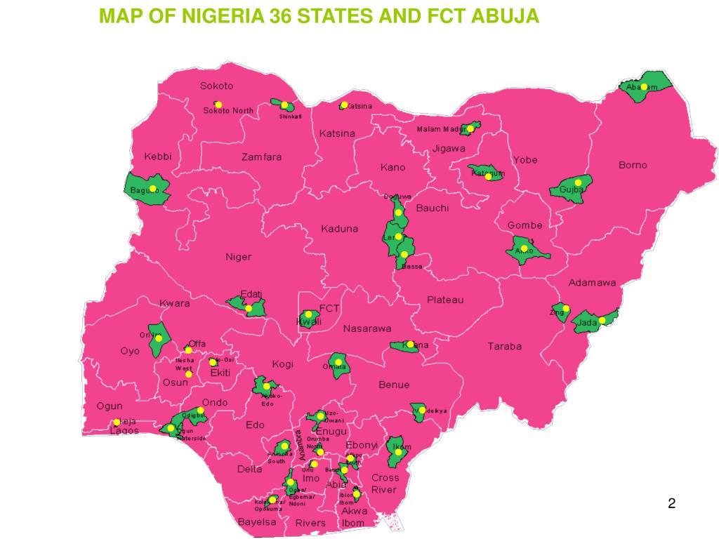 MAP OF NIGERIA 36 STATES AND FCT ABUJA