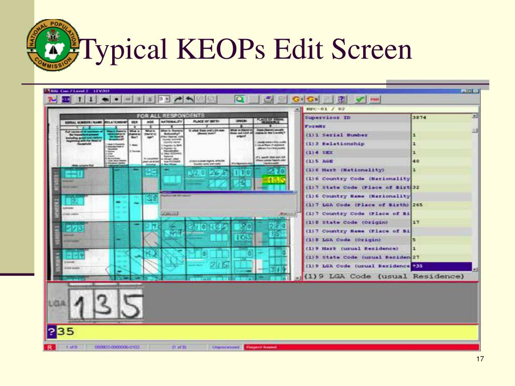 Typical KEOPs Edit Screen