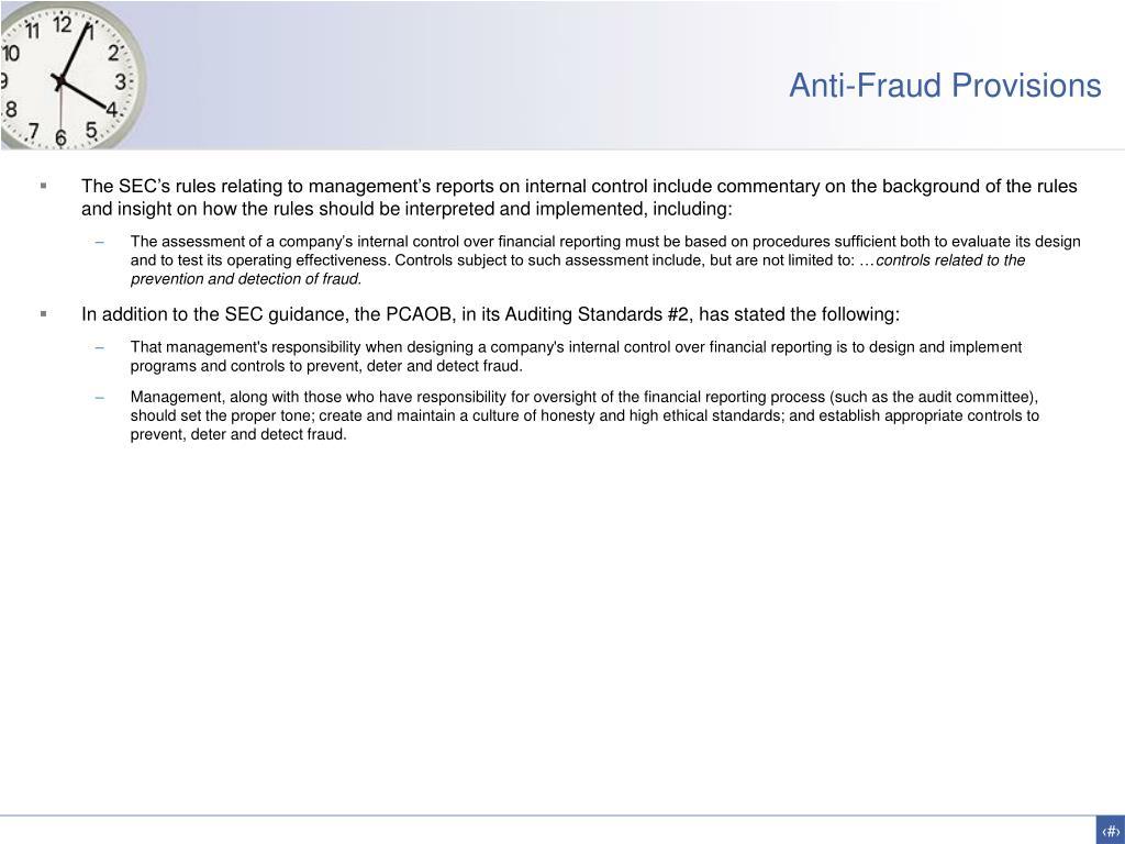 Anti-Fraud Provisions