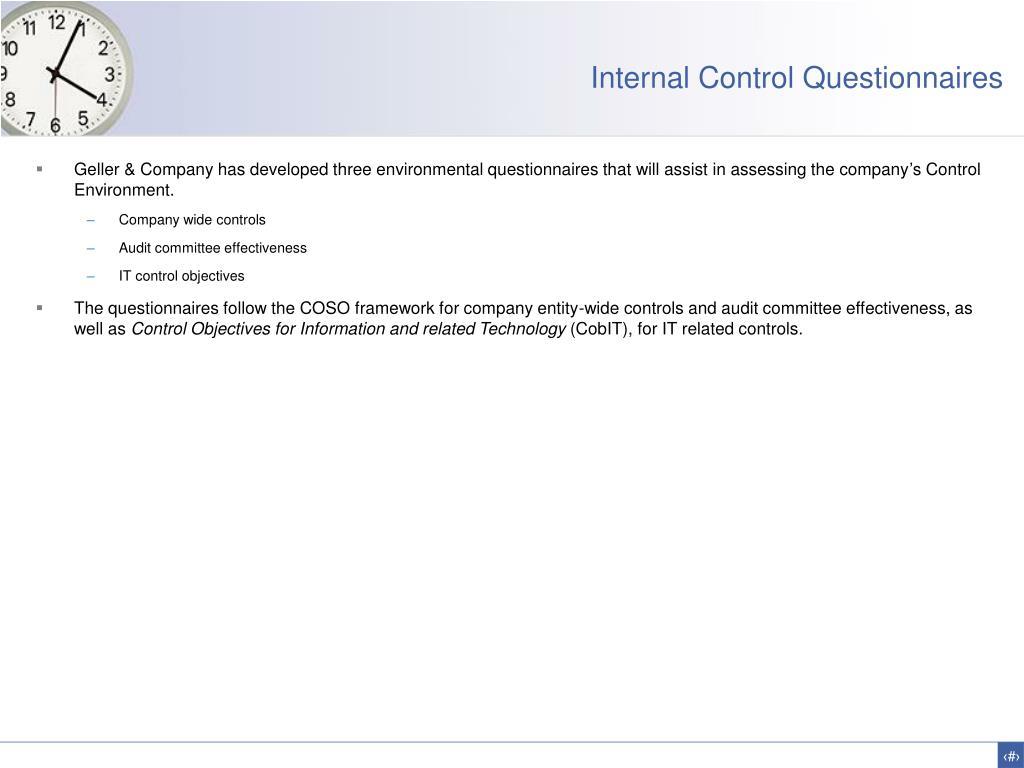 Internal Control Questionnaires