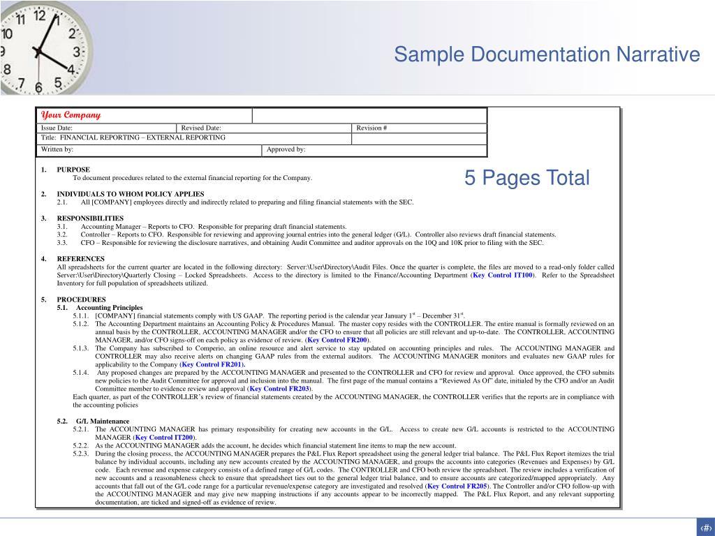 Sample Documentation Narrative