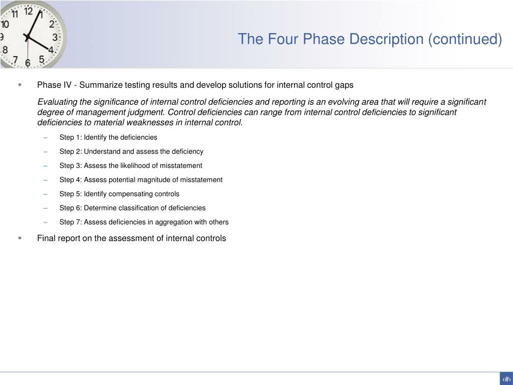 The Four Phase Description (continued)