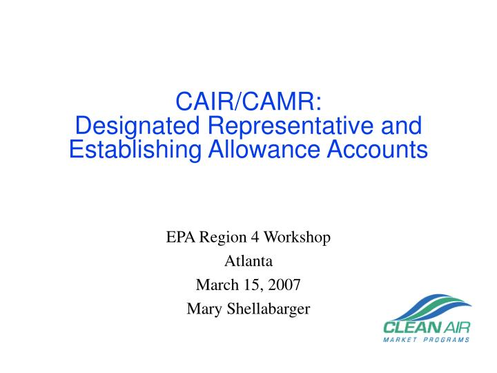 Cair camr designated representative and establishing allowance accounts