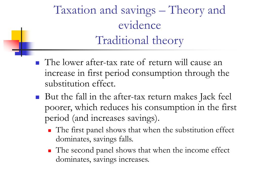 Taxation and savings – Theory and evidence