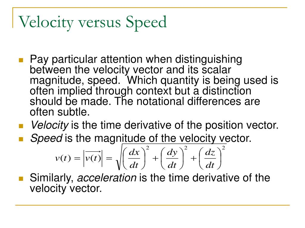 Velocity versus Speed