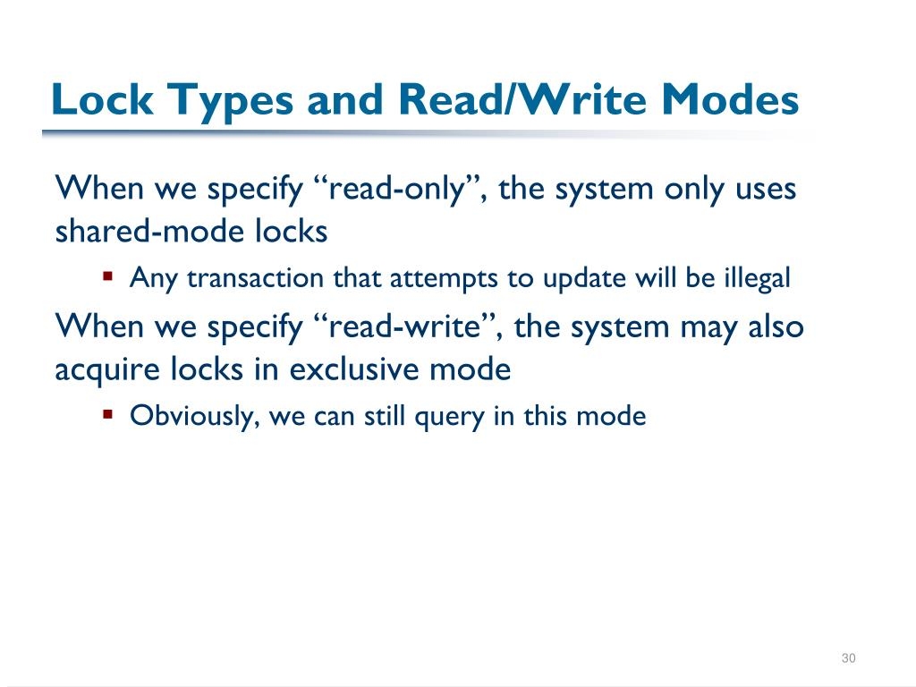 Lock Types and Read/Write Modes