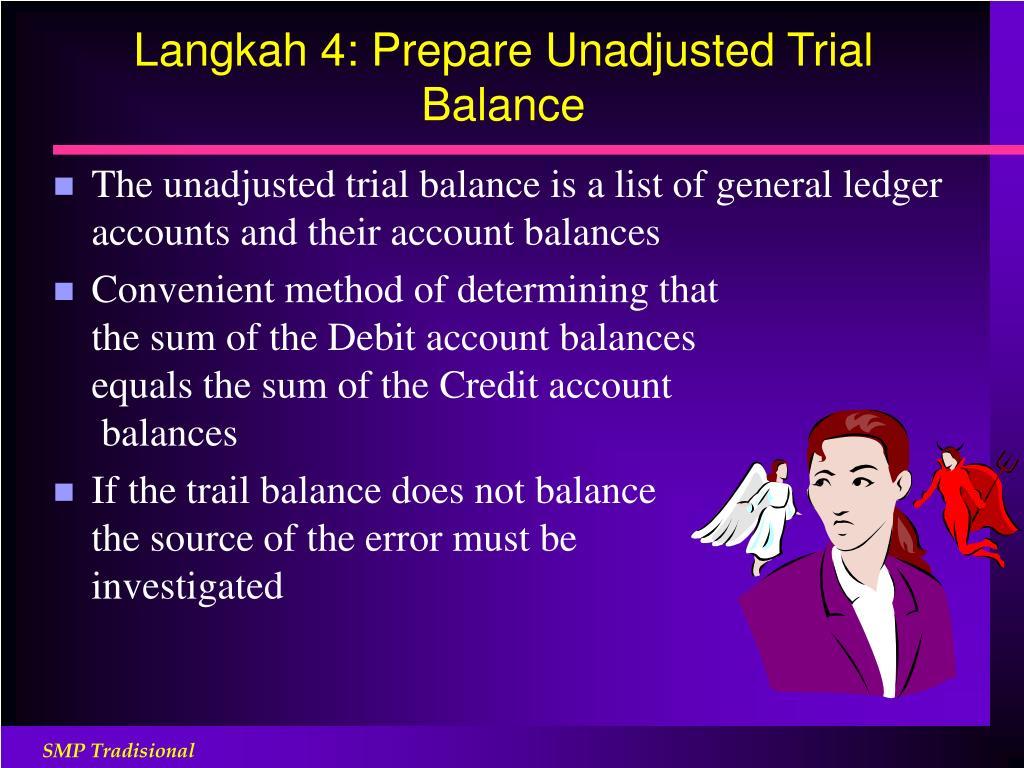 Langkah 4: Prepare Unadjusted Trial Balance