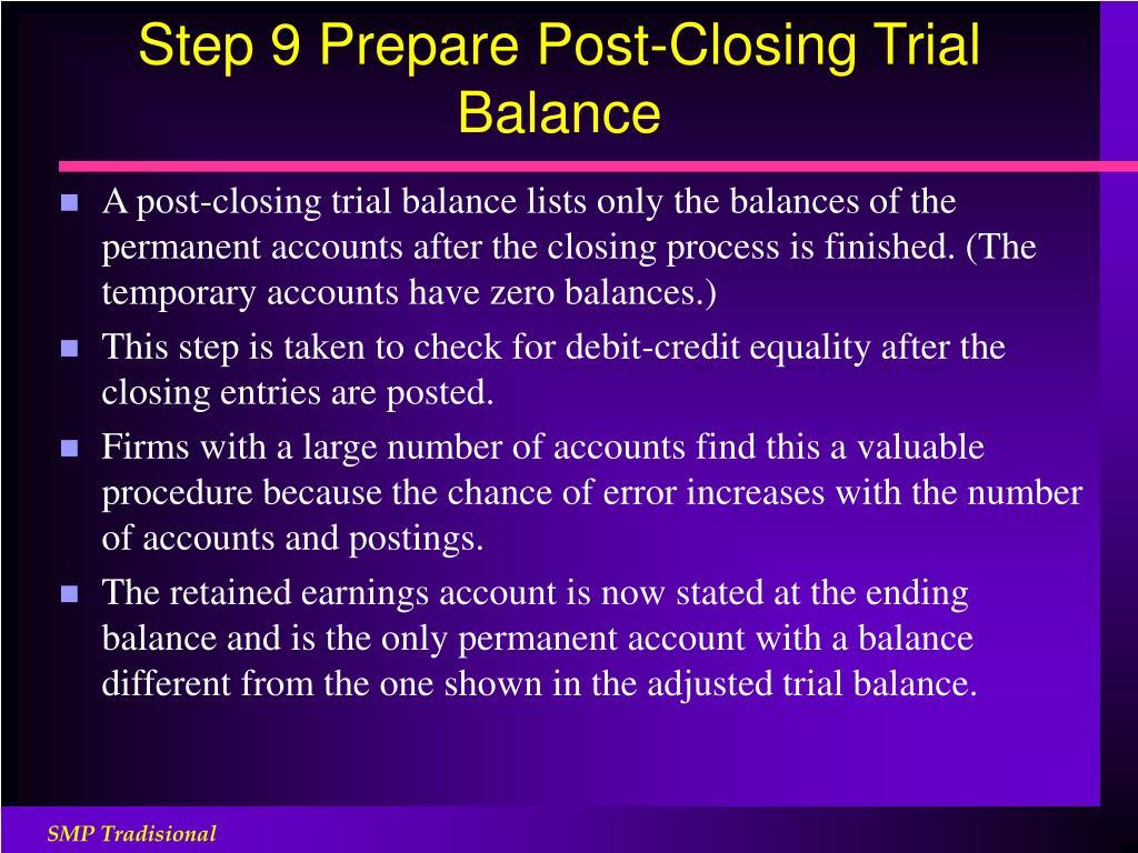 Step 9 Prepare Post-Closing Trial Balance