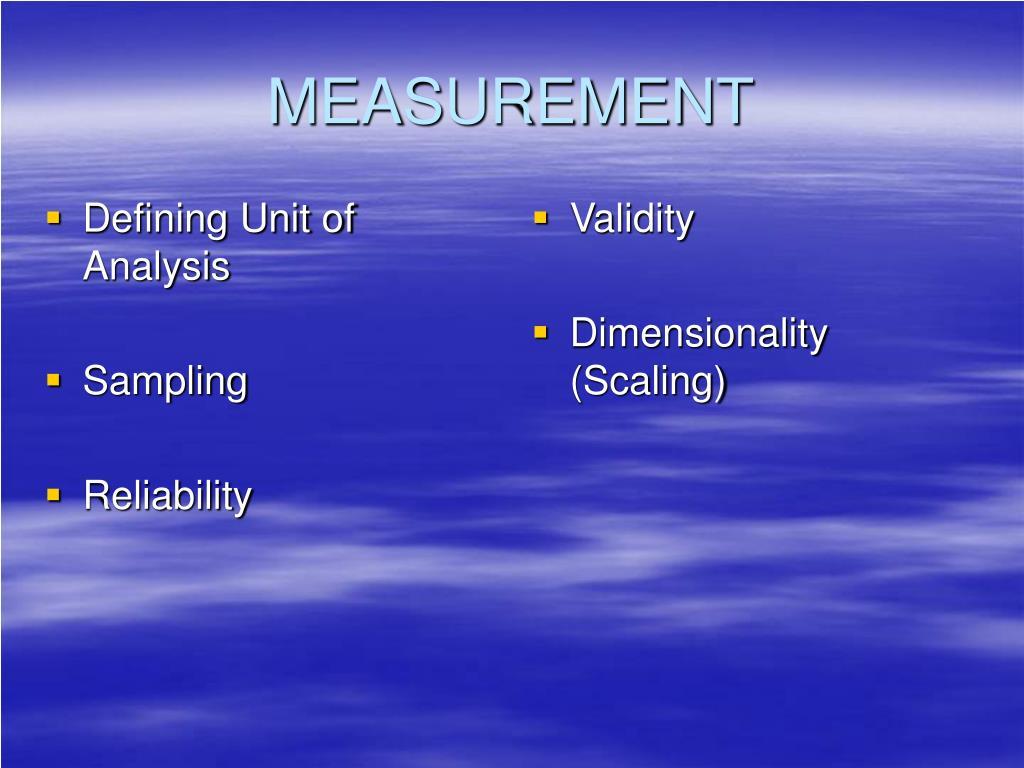 Defining Unit of Analysis