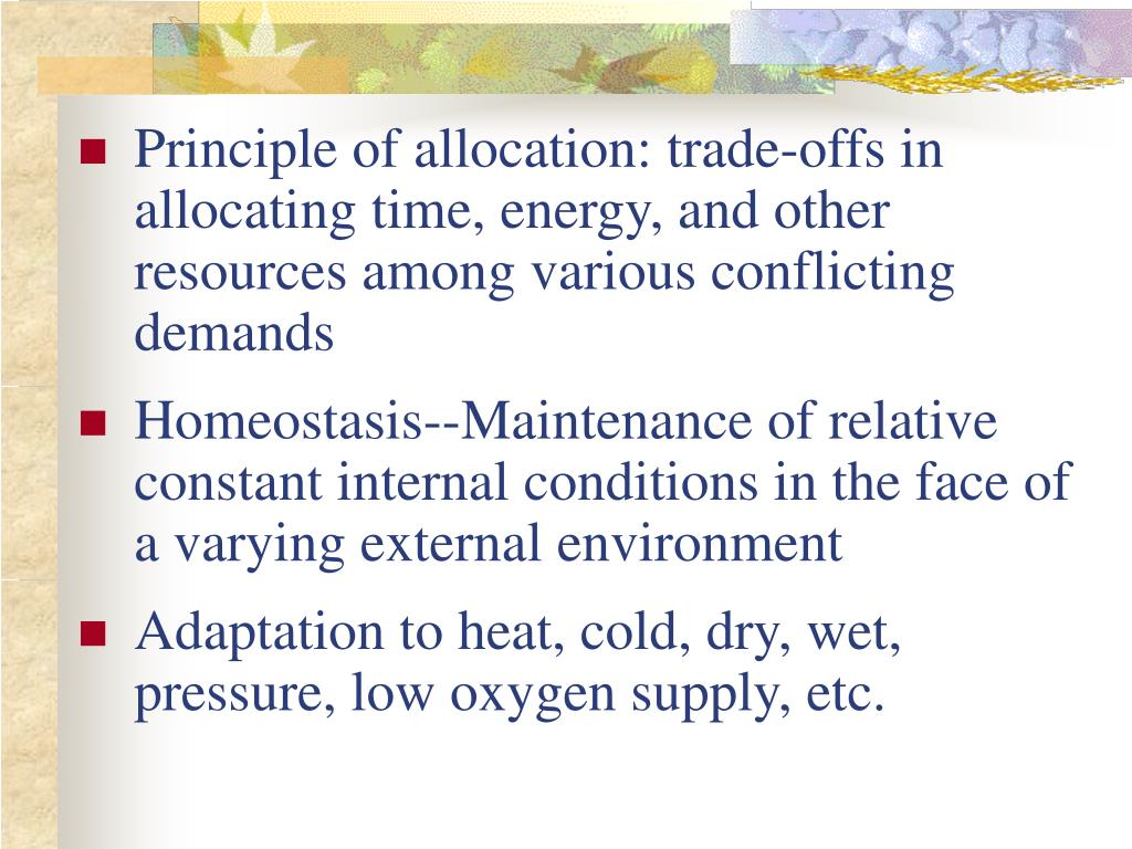 Principle of allocation: trade-offs in allocating time, energy, and other resources among various conflicting demands
