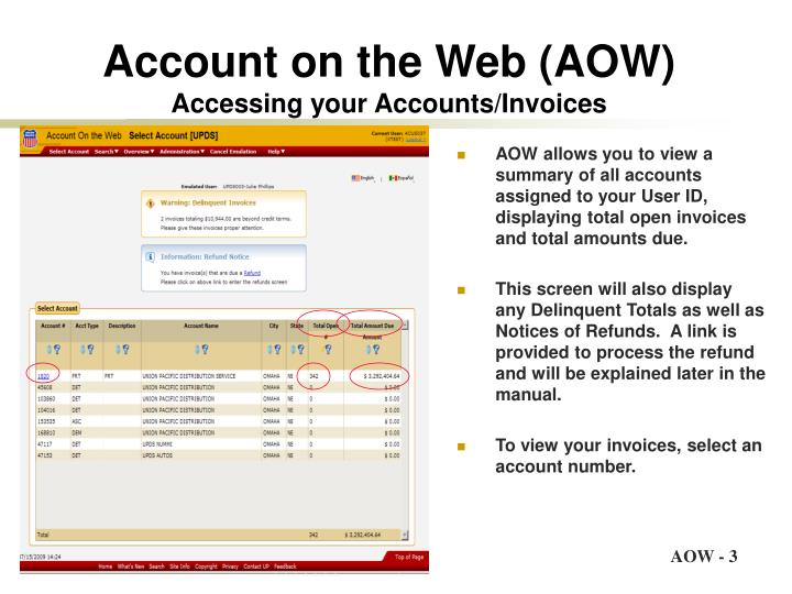 Account on the web aow accessing your accounts invoices
