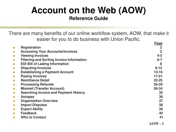 Account on the web aow reference guide