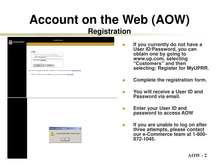 Account on the web aow registration