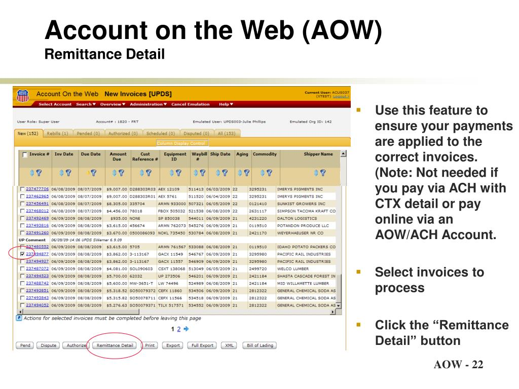 Account on the Web (AOW)