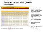 account on the web aow remittance detail