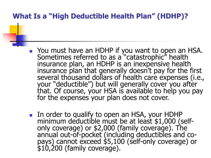 What is a high deductible health plan hdhp