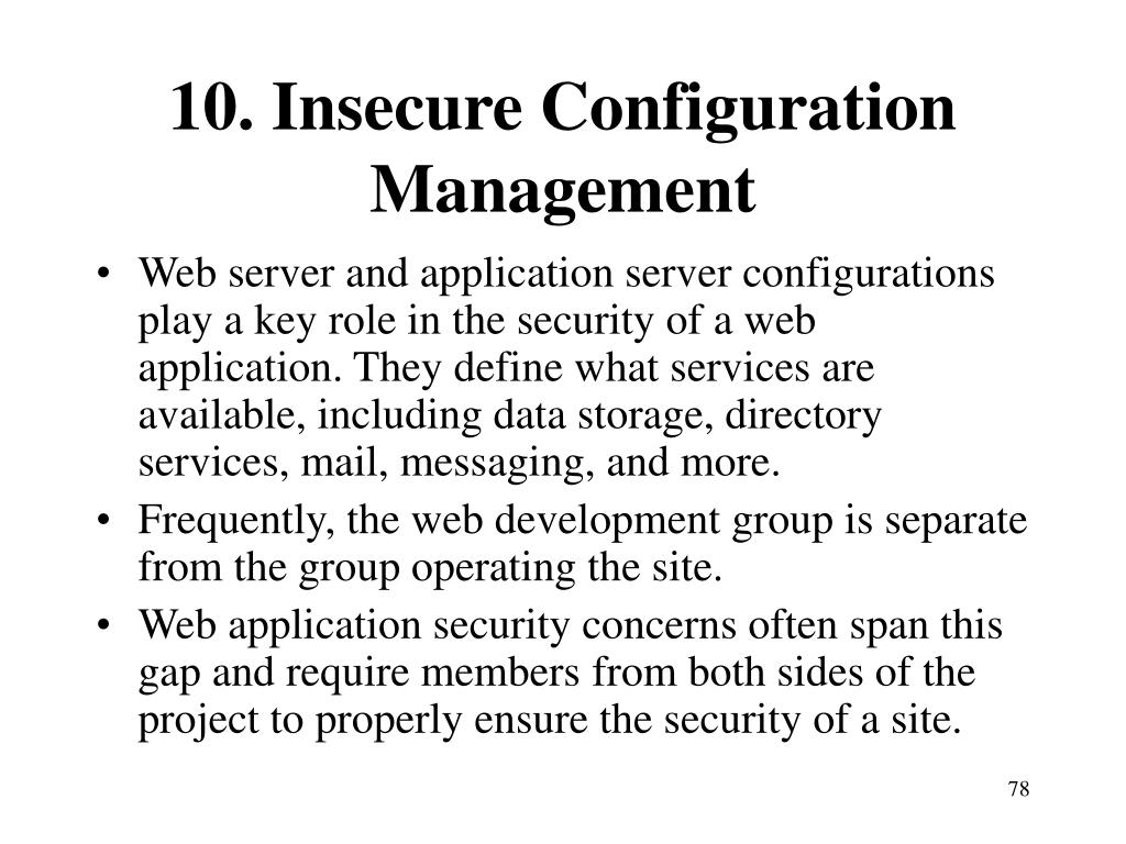 10. Insecure Configuration Management