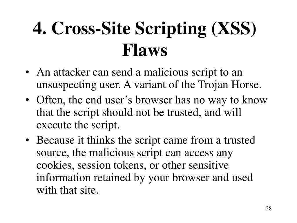 4. Cross-Site Scripting (XSS) Flaws