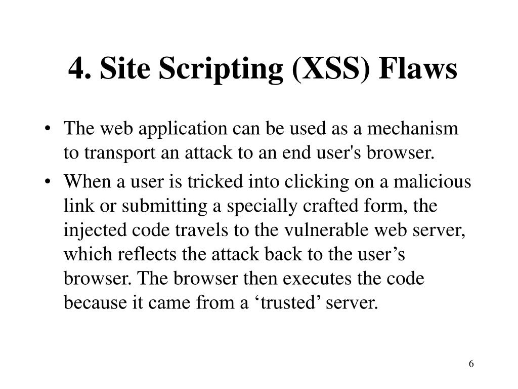 4. Site Scripting (XSS) Flaws