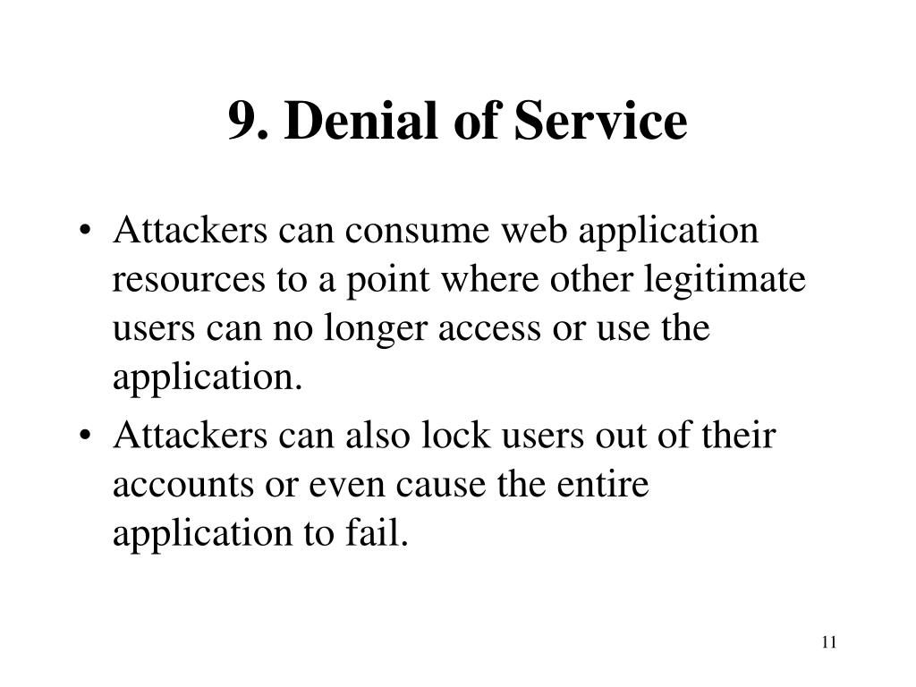 9. Denial of Service