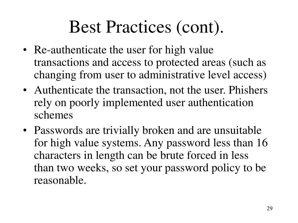 Best Practices (cont).