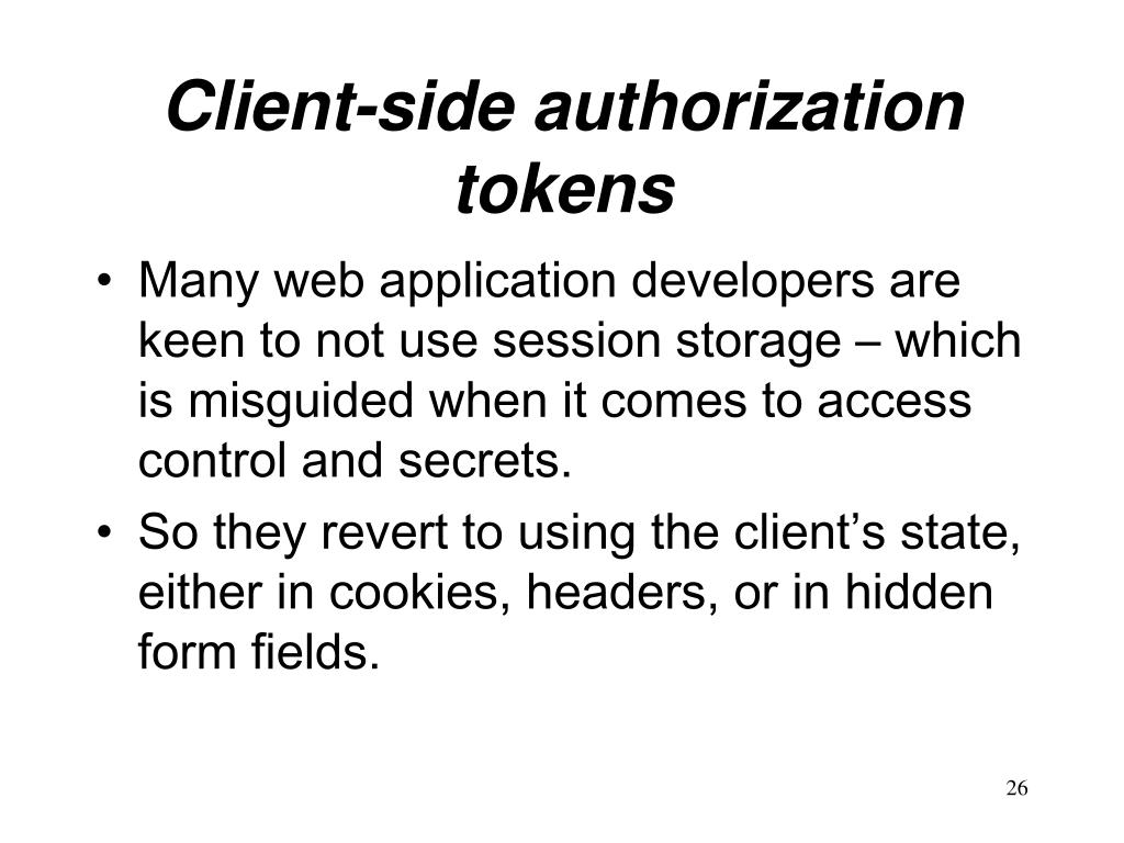 Client-side authorization tokens