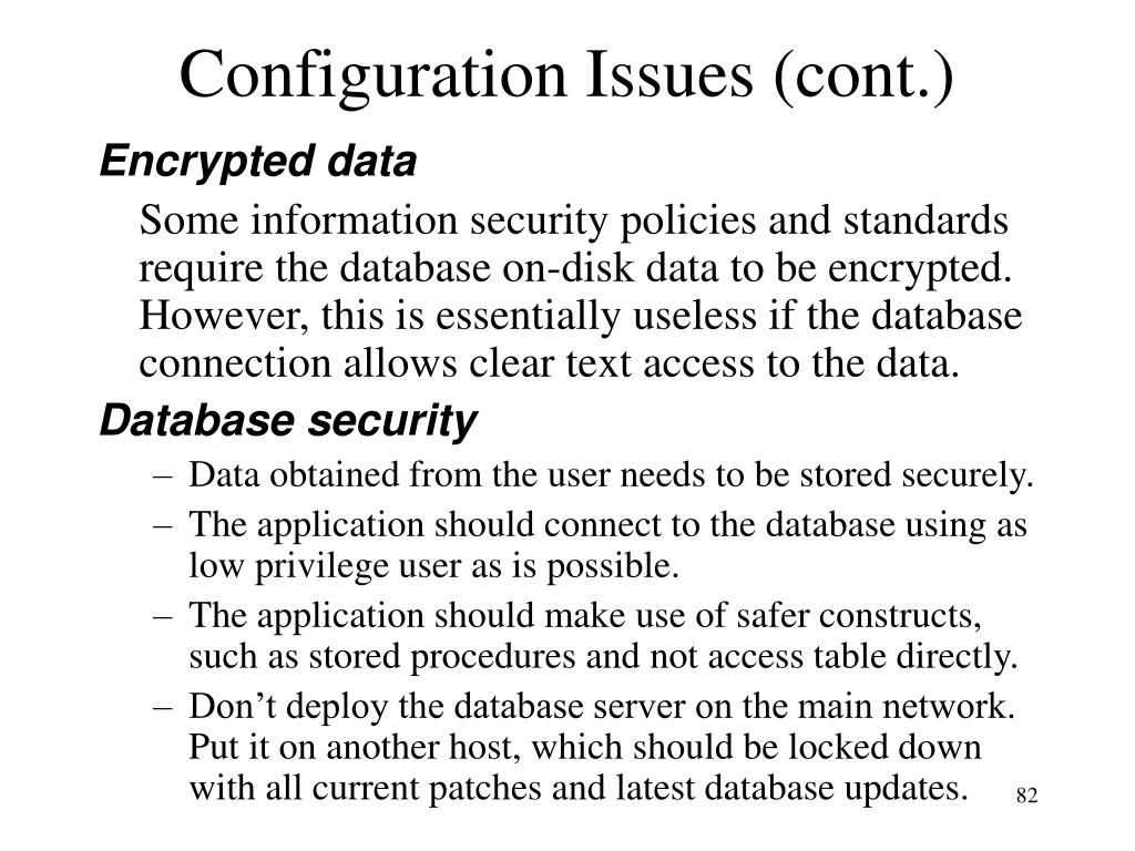 Configuration Issues (cont.)