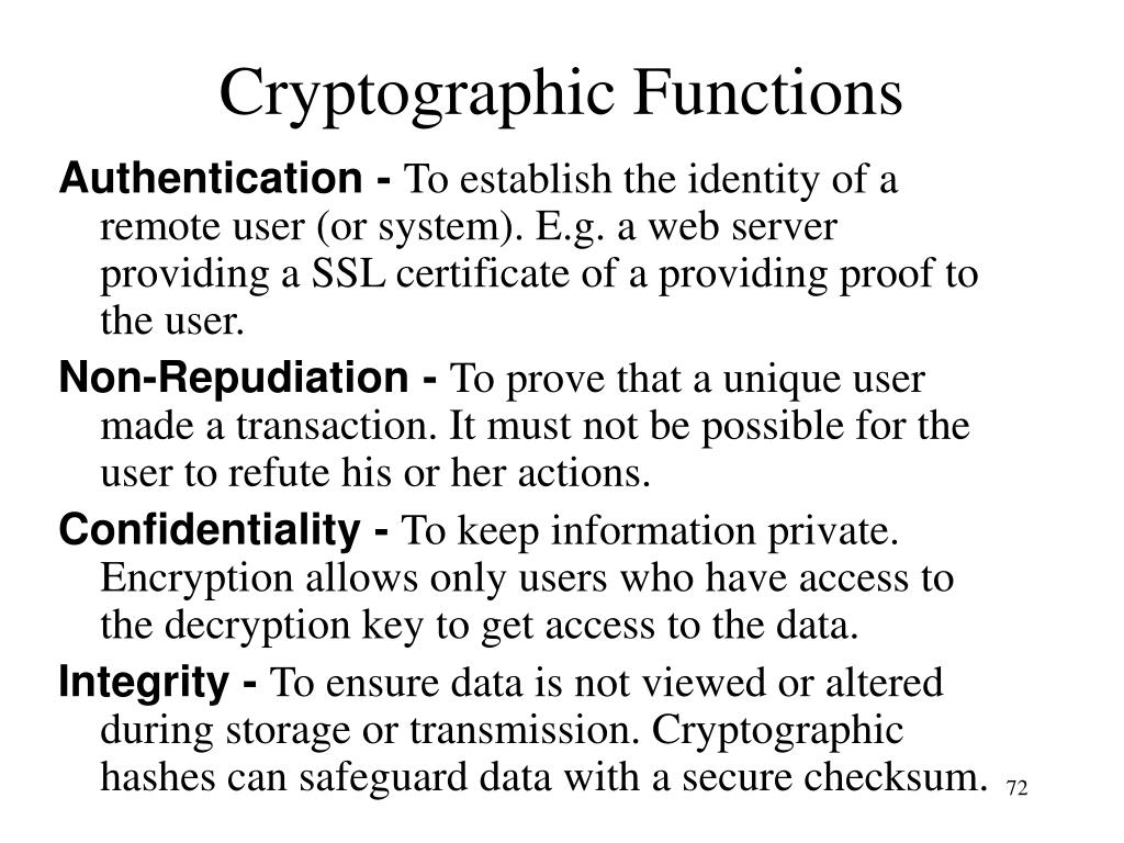 Cryptographic Functions