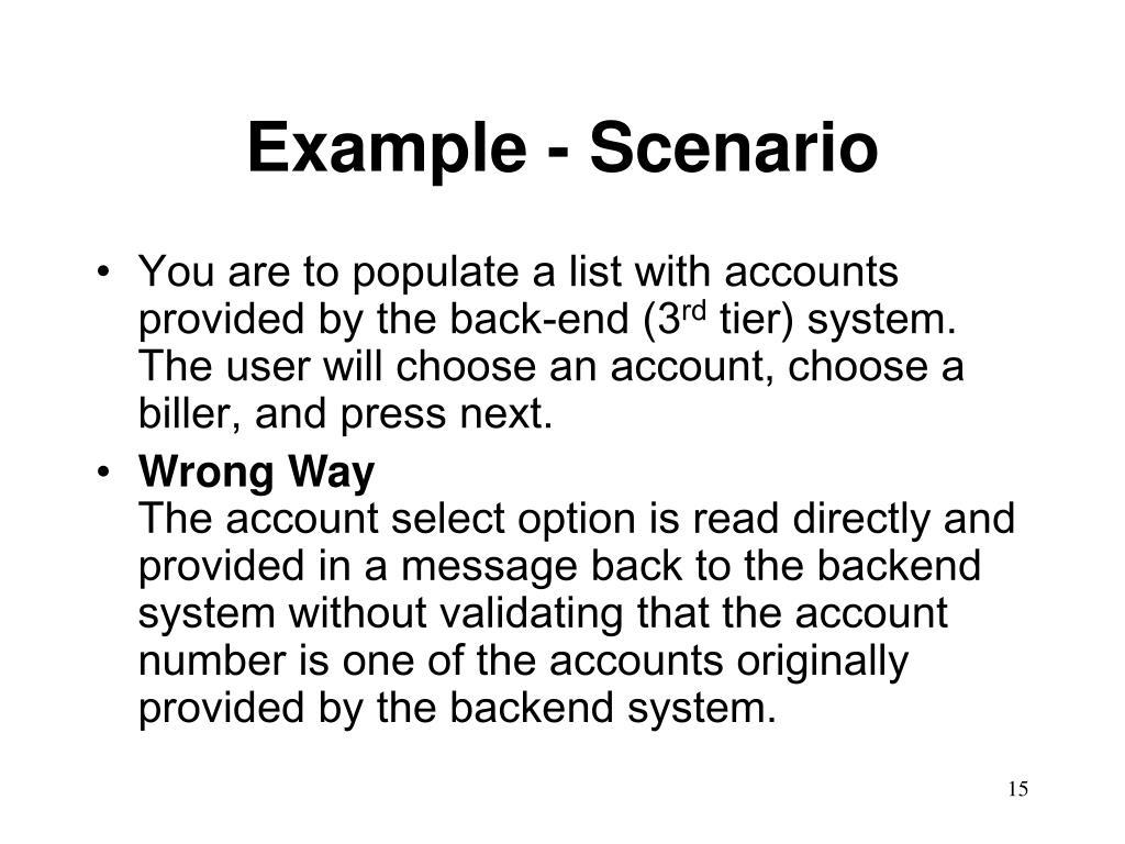 Example - Scenario