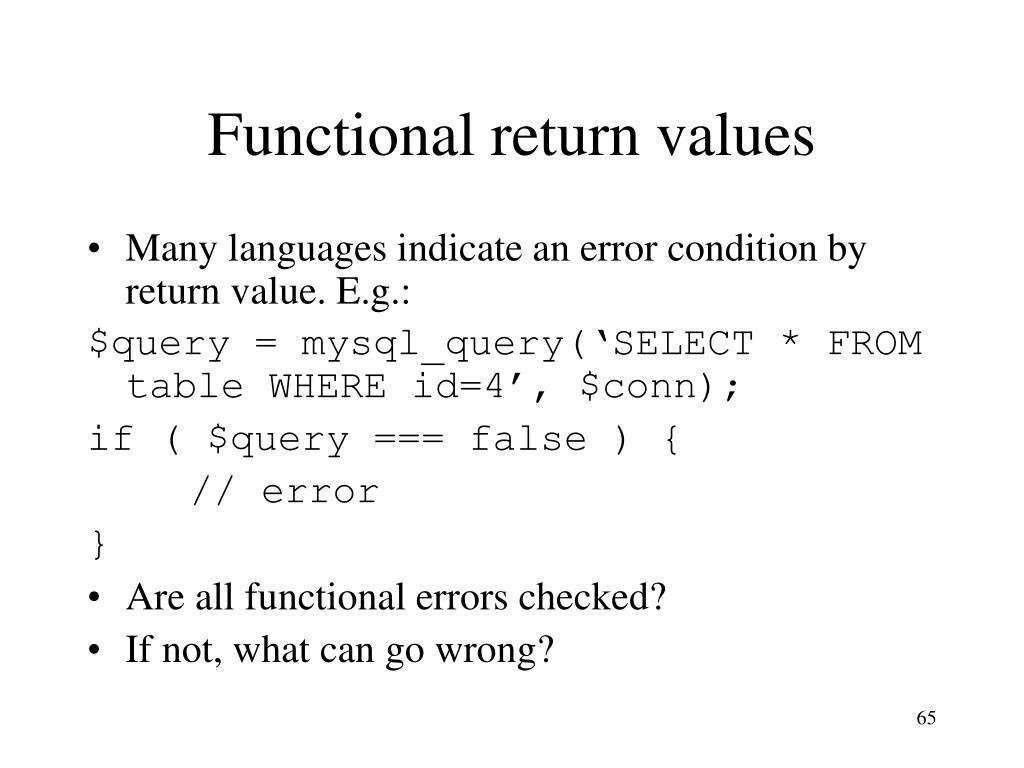 Functional return values
