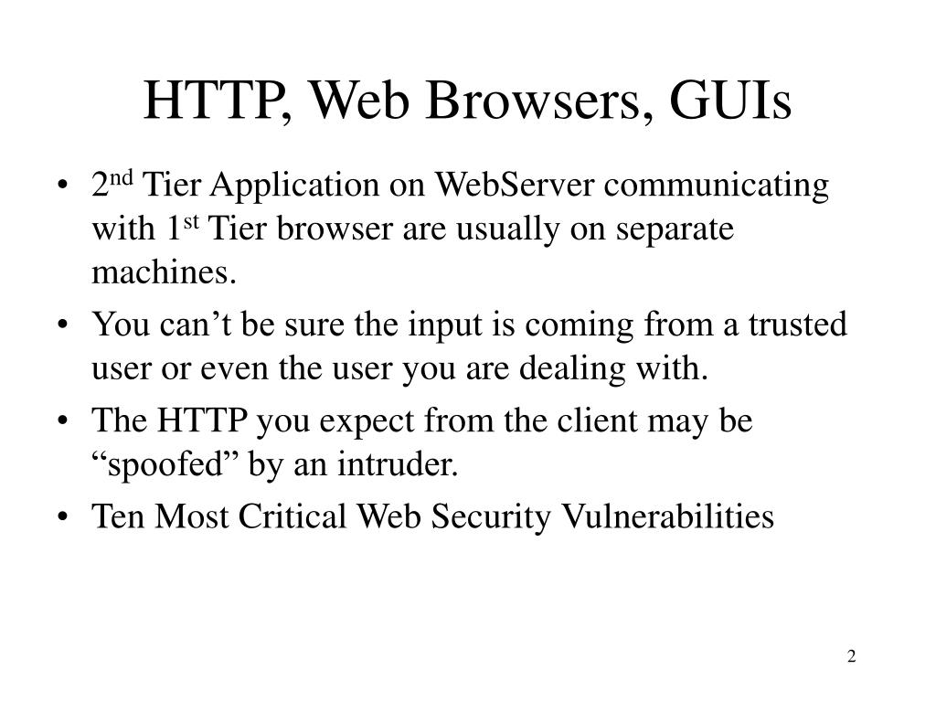 HTTP, Web Browsers, GUIs