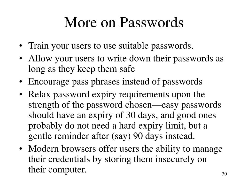 More on Passwords