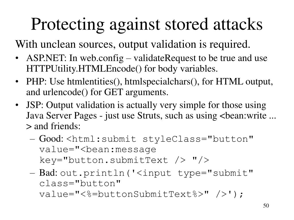 Protecting against stored attacks