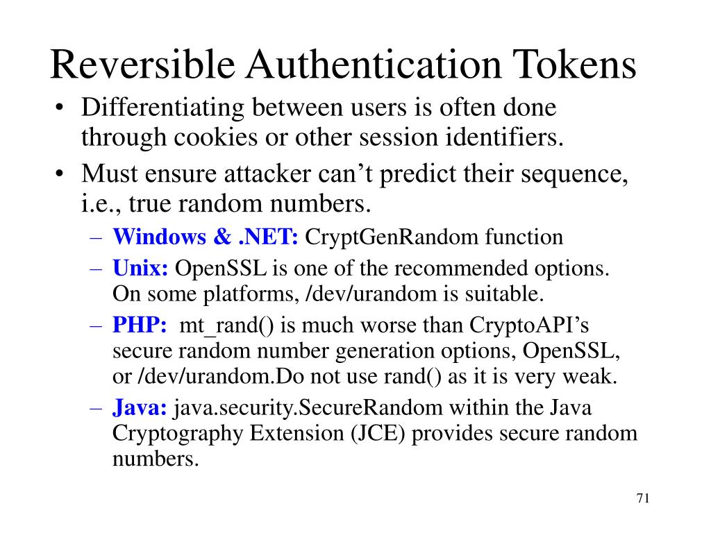 Reversible Authentication Tokens