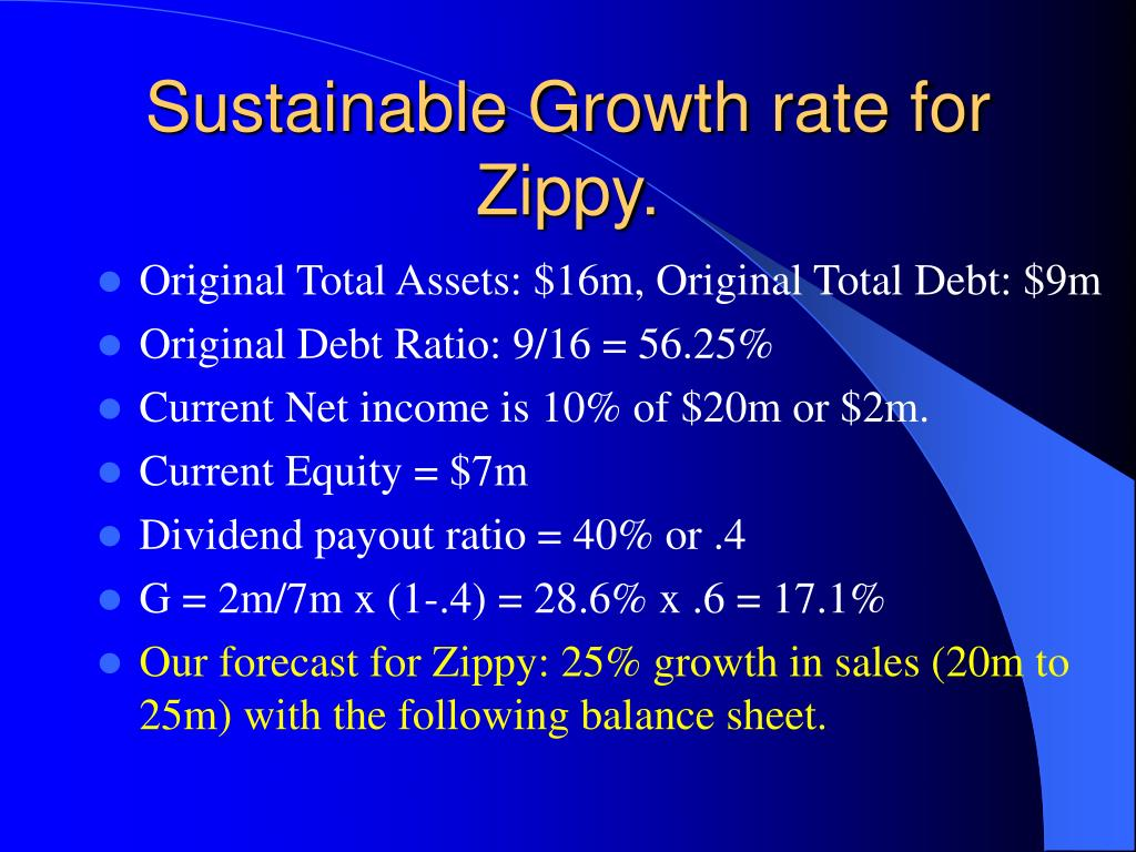 Sustainable Growth rate for Zippy.