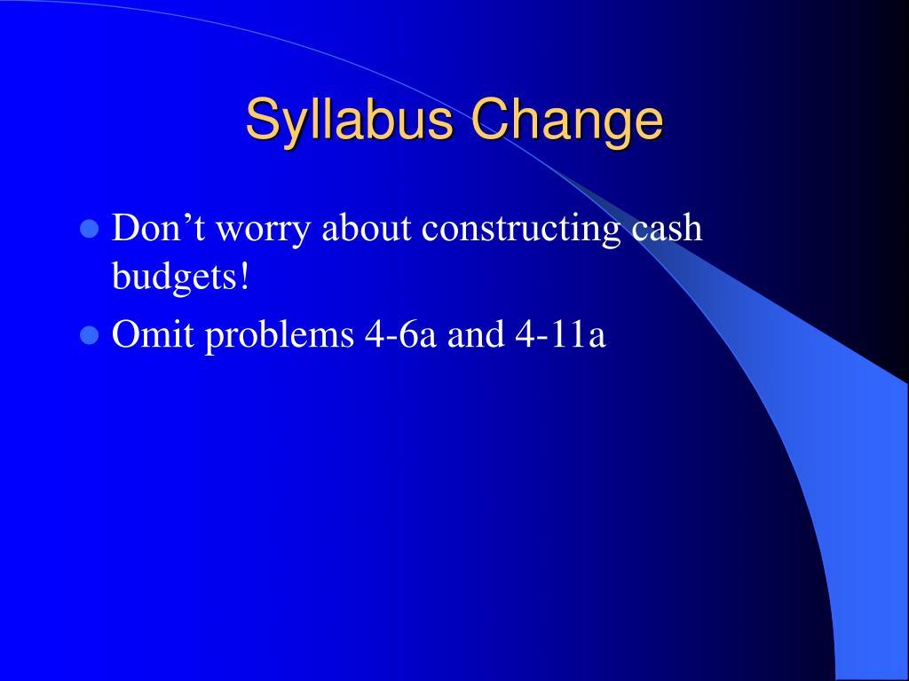 Syllabus Change
