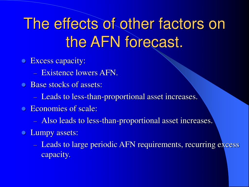 The effects of other factors on the AFN forecast.